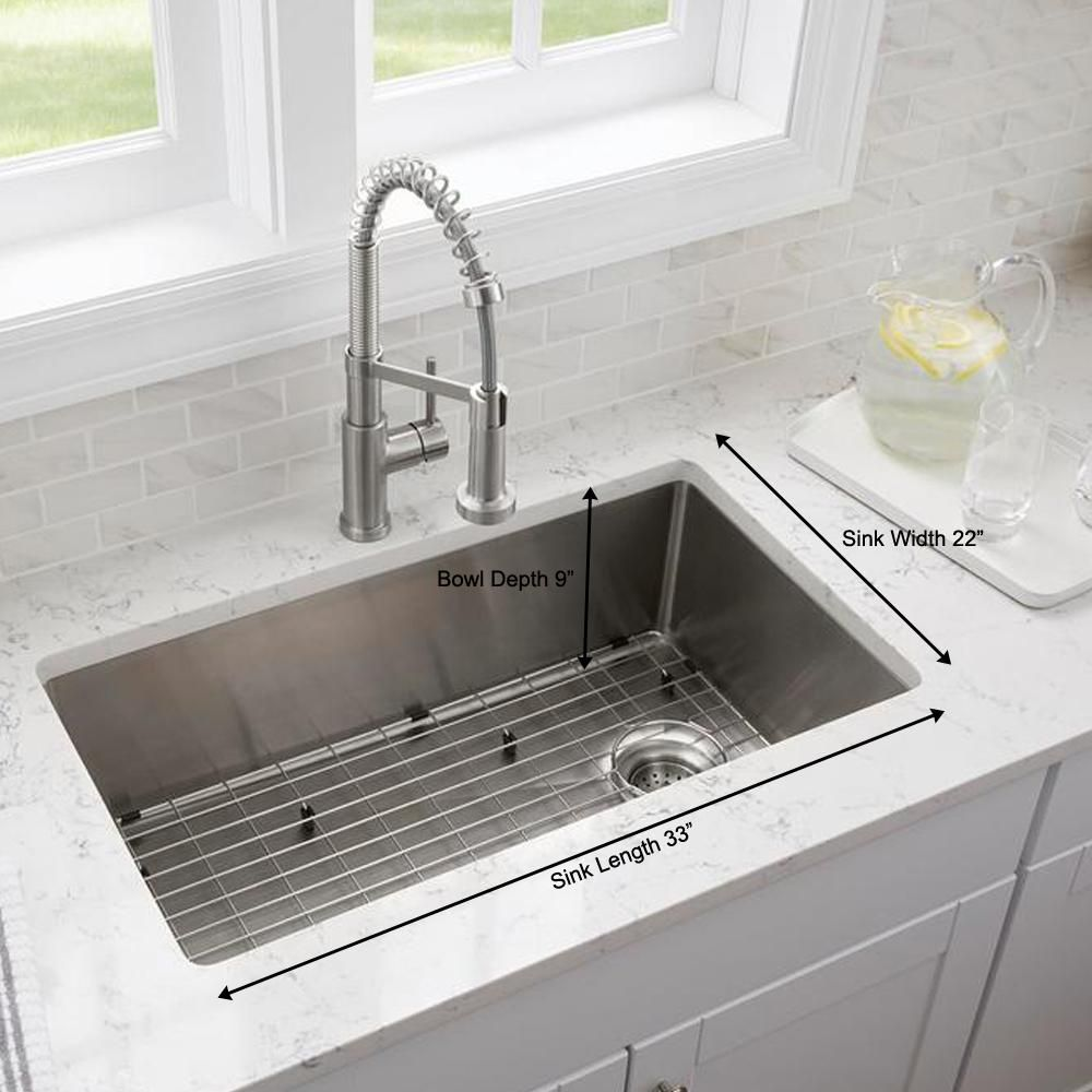 Glacier Bay Tight Radius Stainless Steel 33 In 18 Gauge 2 Hole Single Bowl Dual Mount Kitchen Sink With Grid And Strainer Vdr3322a1 The Home Depot Single Basin Kitchen Sink Single Bowl Kitchen