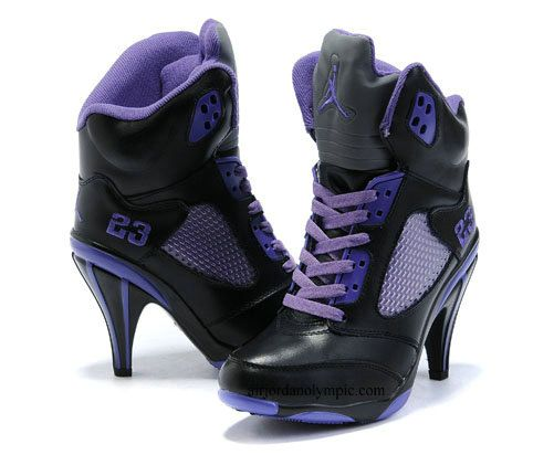 1b18ff633fa Air Jordan 5 High Heels Black Purple For Women I don't really love these  they are just weird.