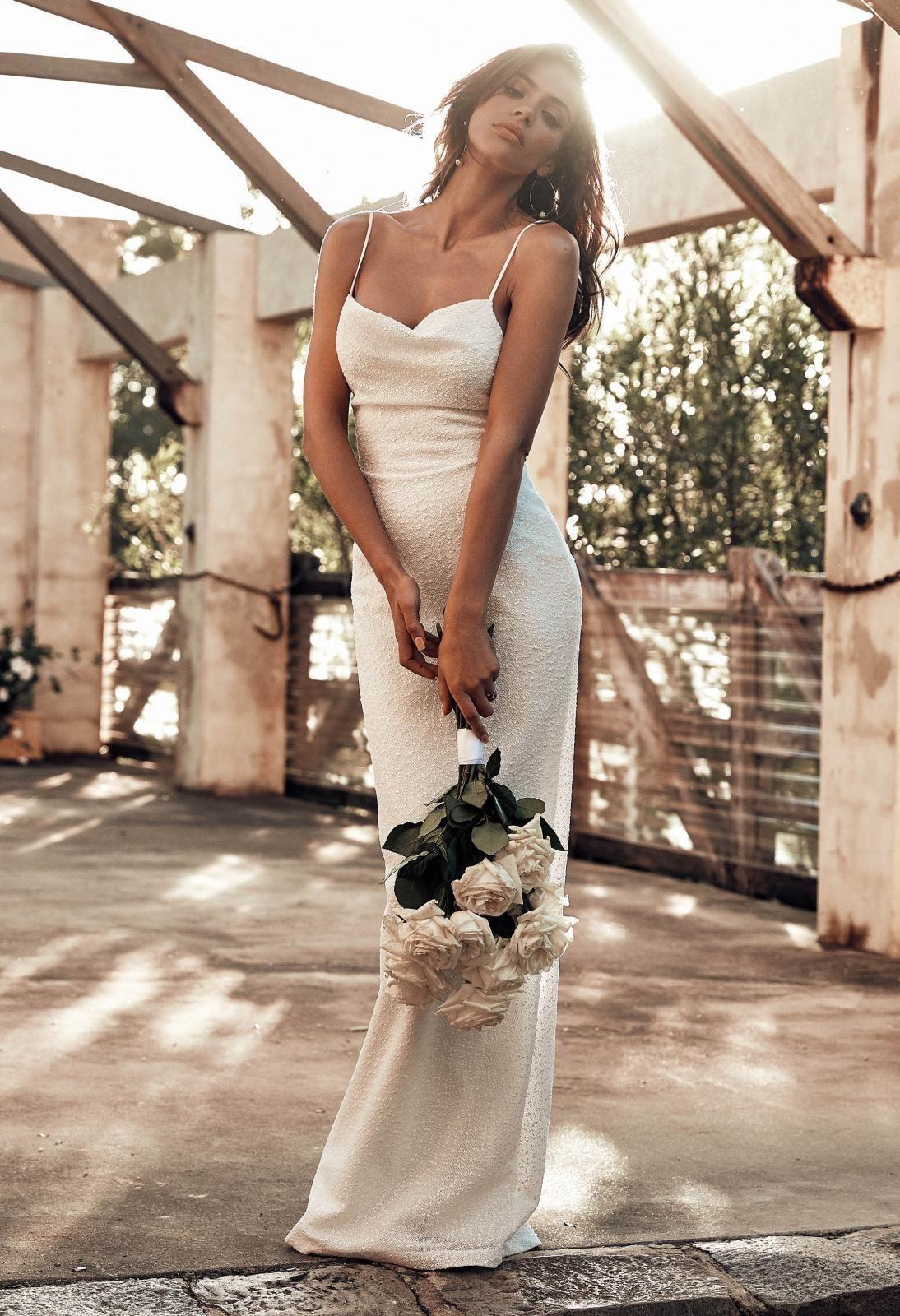 P I N T E R E S T Elyy Spaghetti Strap Wedding Dress Wedding Dresses With Straps Wedding Dresses Beaded