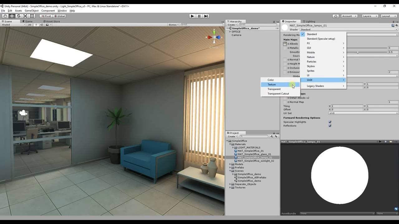 Simple Office render lightmap in Unity5(Enlighten & Final