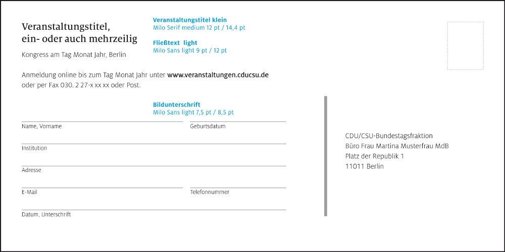 Cdu Csu Corporate Design Geschäftsausstattung Einladung