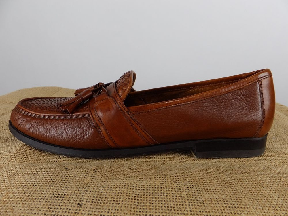 5bc4aa411aac JOHNSTON MURPHY Passport Brown Deerskin Woven Tassel Loafer Slip Shoe Men  12 M D  JohnstonMurphy