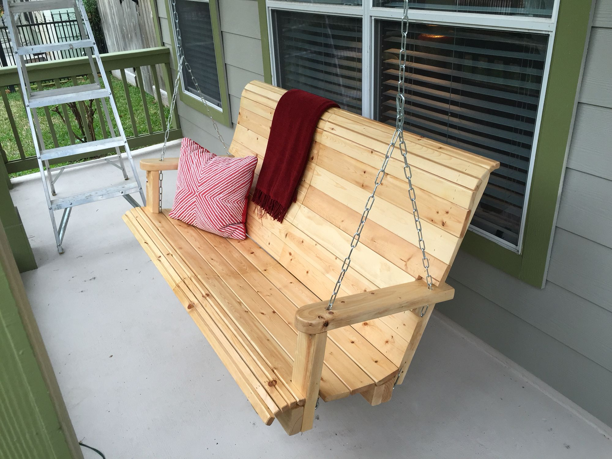 Custom Porch Swing Made With Reclaimed IKEA Bed Slats.