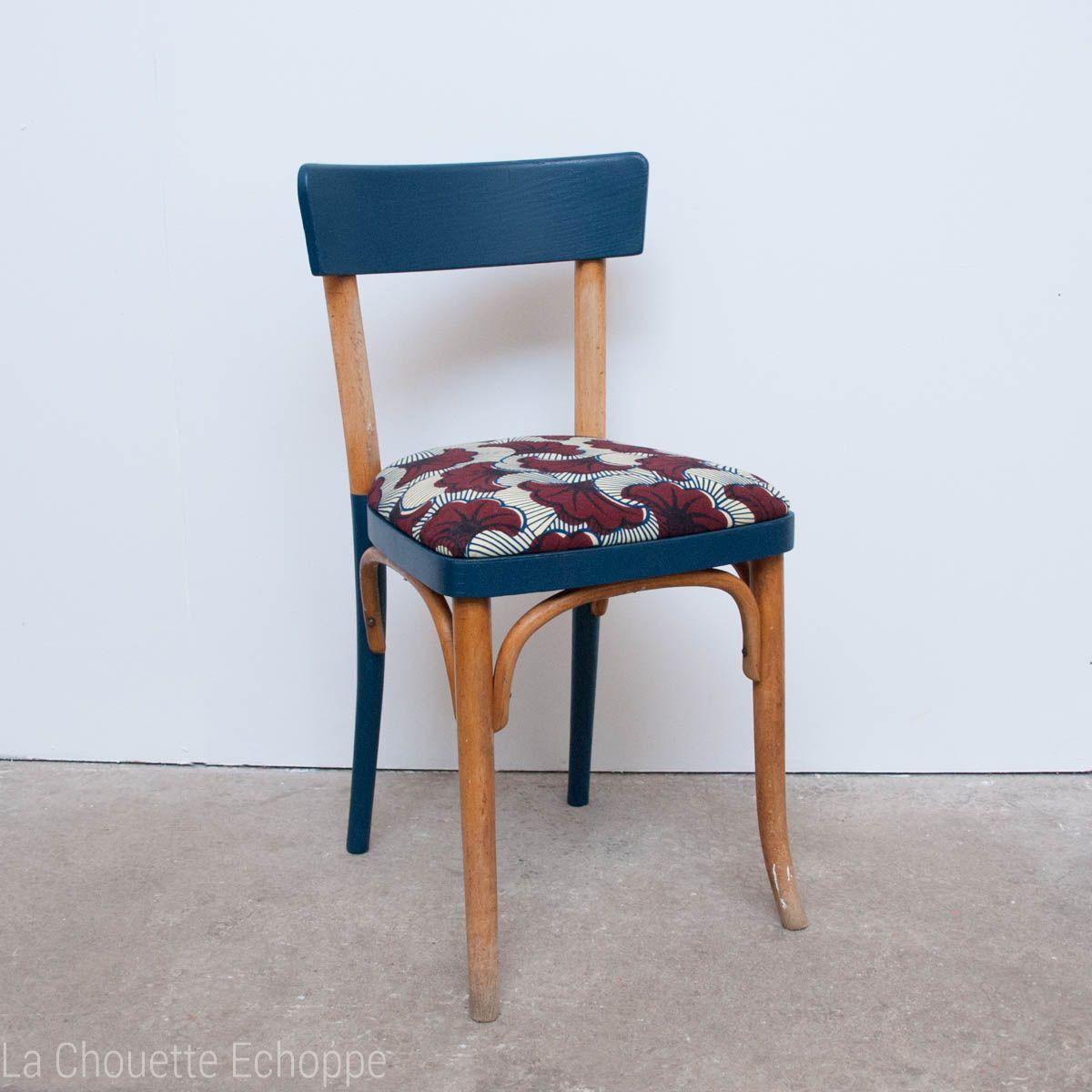 Chaise Thonet chaise thonet vintage de bistrot réactualisée en bleu nuit et wax
