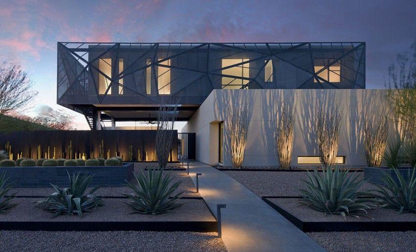 flachdachhaus modern mit pool exotische Pflanzen assemblage studio tresarca