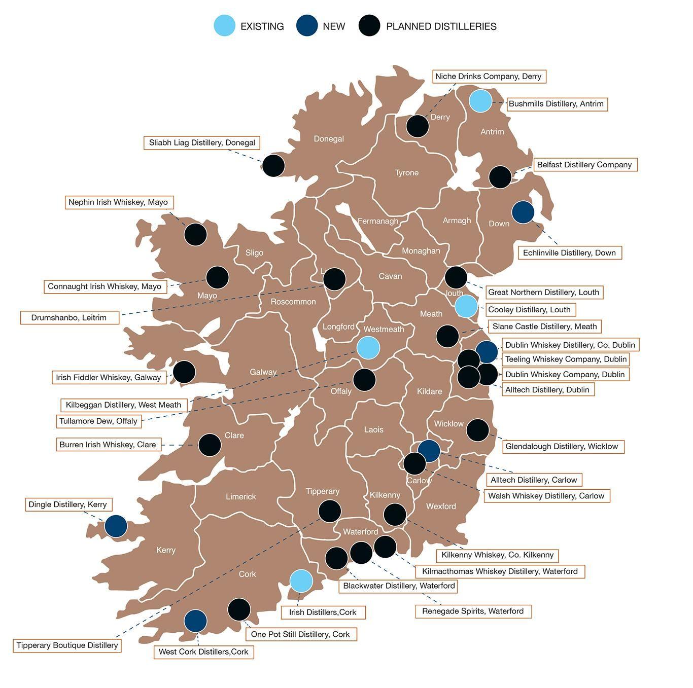 Irische Destillerien Eine Aktuelle Karte Irisch Karten Landkarte