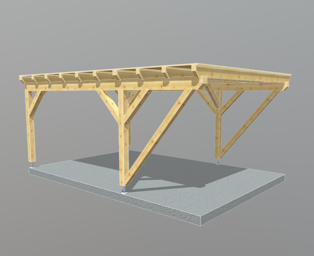 Carport holz 4m x 6m flachdach, carports aus polen