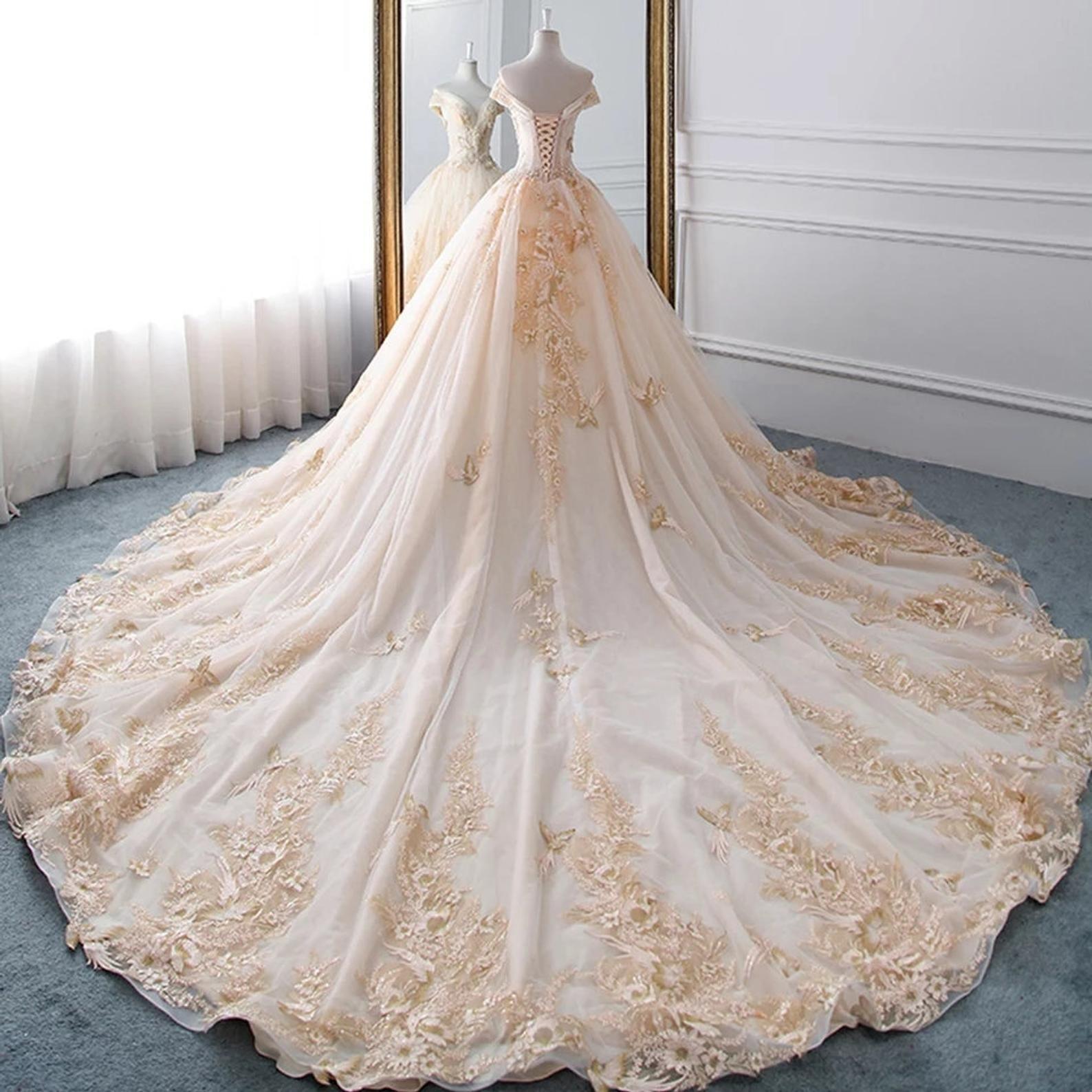 Chloe Off Shoulder Beaded Bodice Ball Gown Wedding