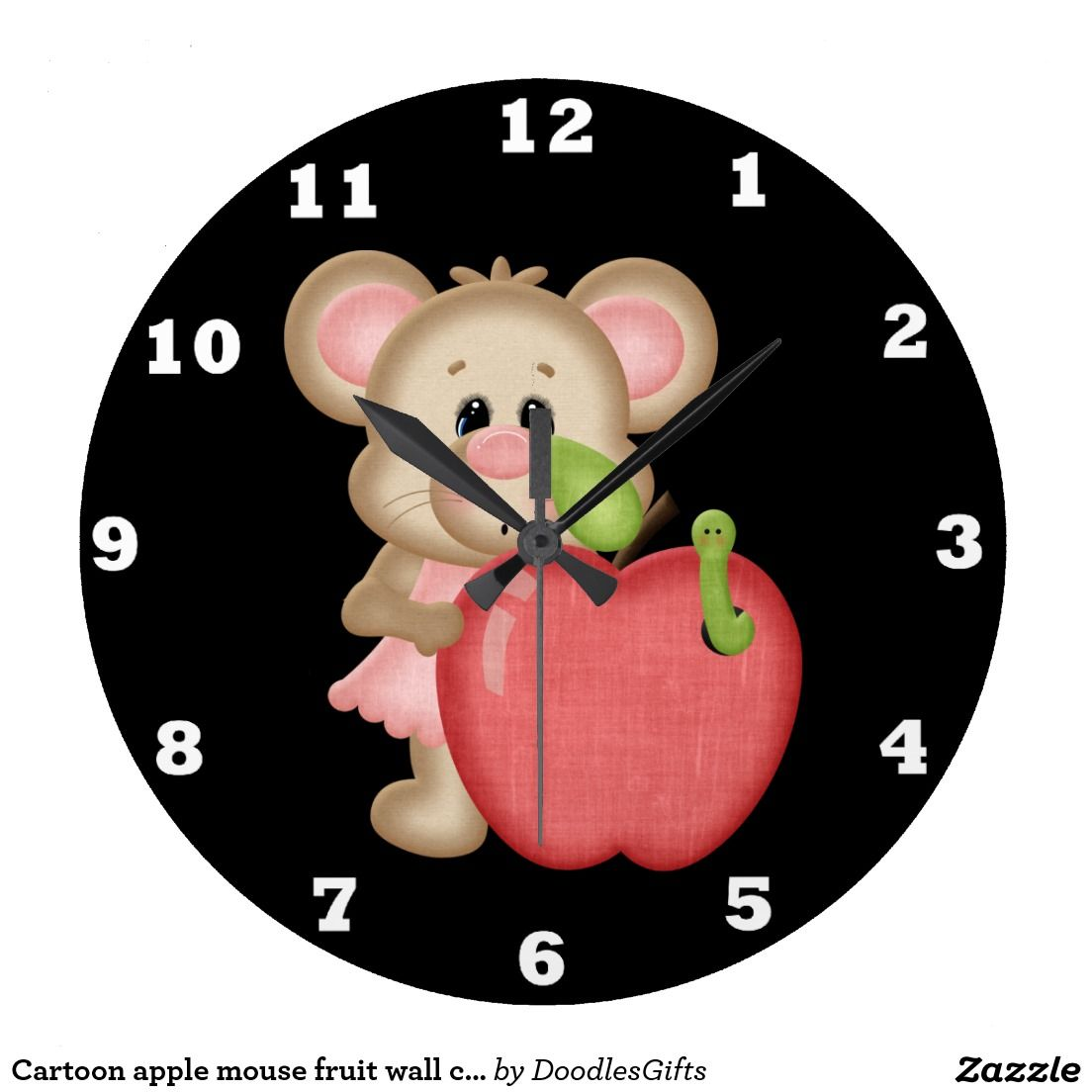 Cartoon apple mouse fruit wall clock