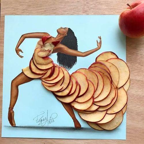 Dress Made Of Apple Slices By Edgar Artis Fashion Design Drawings Food Art Instagram Artist