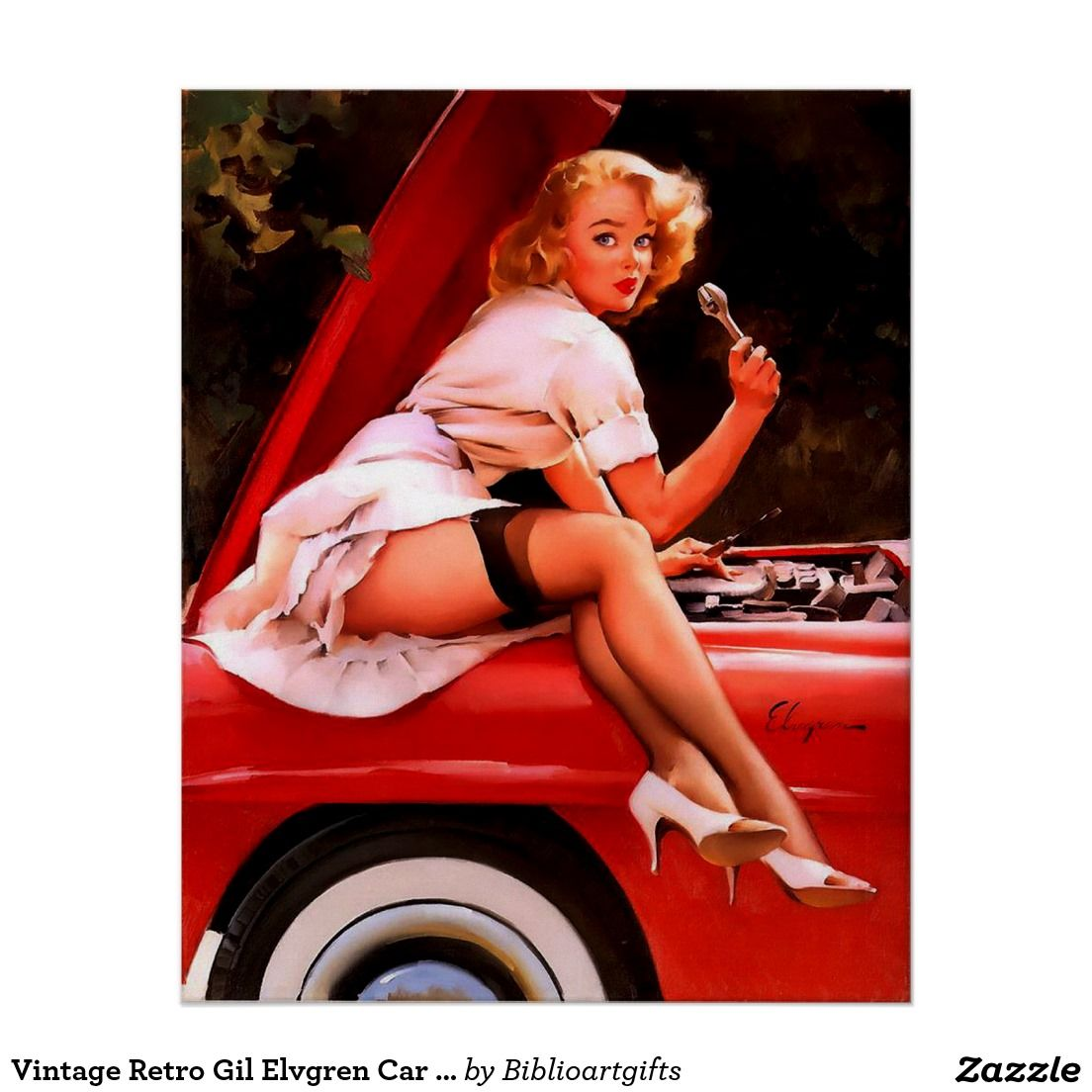 3d05a17a8e1 Vintage Retro Gil Elvgren Car Mechanic Pinup Girl Poster 50% Off All  Posters and Wrapped Canvas   15% Off Everything Else! Use Code   ZAZZARTSTORE Ends ...
