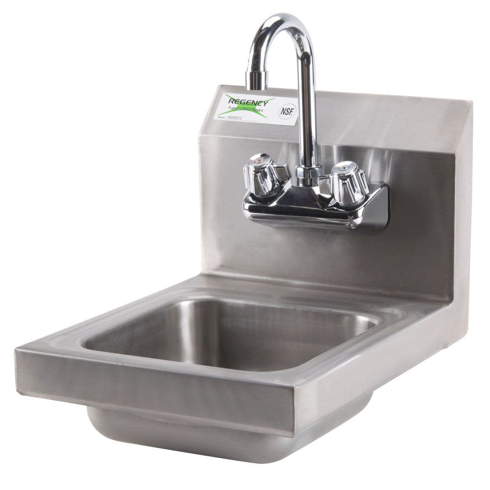 Regency 12 X 16 Wall Mounted Hand Sink With Gooseneck Faucet Sink Utility Sink Wall Mount
