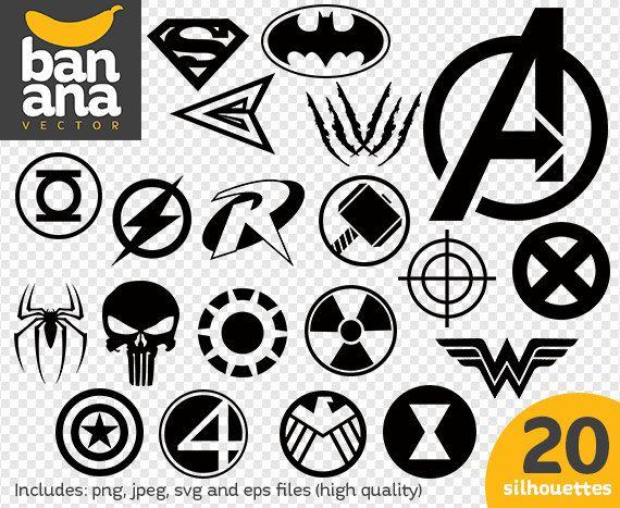 Sale Superhero Logos Png Jpg Svg Eps Files High Resolution Etsy Superhero Logos Svg Png
