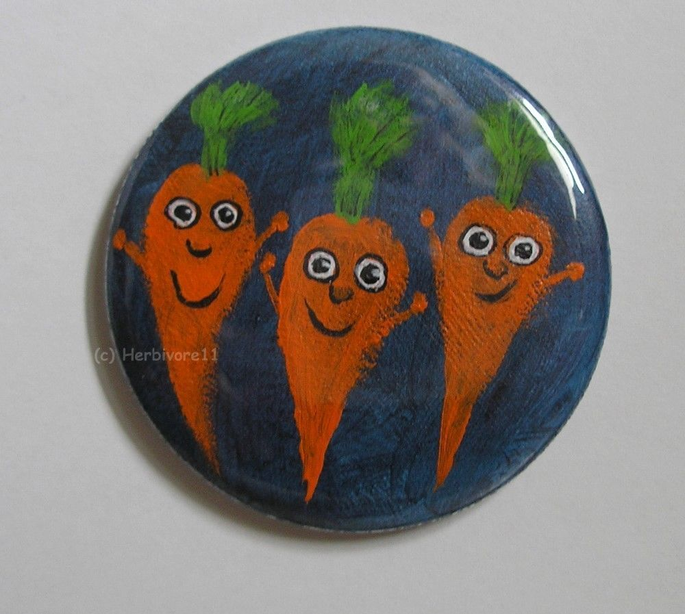 DER RÜBENCLUB von Herbivore11 Unikat Button Magnet Karotte Karotten Vegetarier