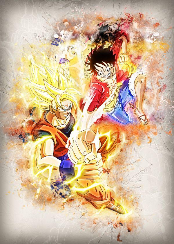 Displate Poster Goku Vs Luffy Luffy Goku Vegeta Naruto Dbz Ff7 Bleach Fight Versus Manga Anime Animation Fondos De Naruto Anime Imagenes Del Mundo