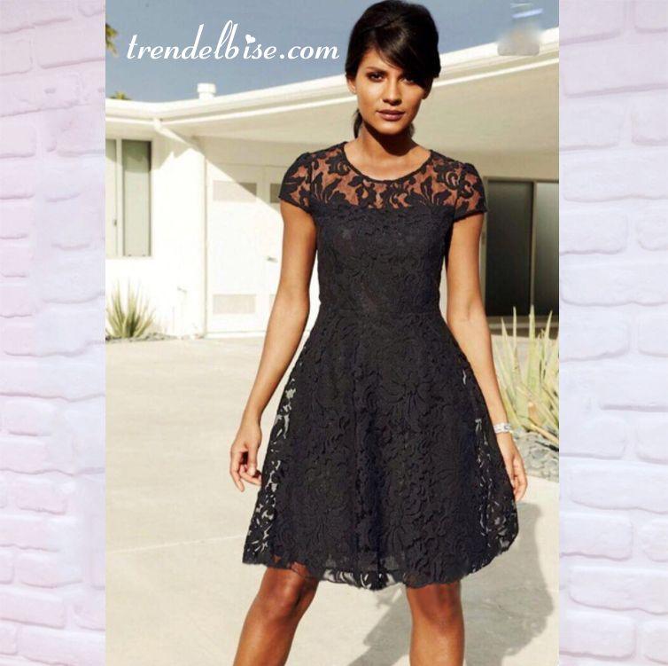 Trendelbise Com Sayesinde Gupurlu Midi Boy Elbise Siyah Elbiseyi Hemen Alin Knee Length Lace Dress Black Lace Dress Long Little Black Lace Dress