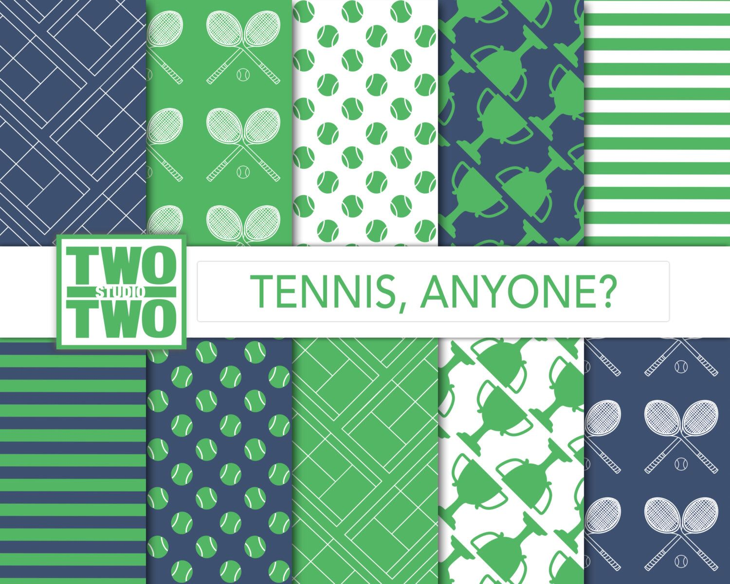 Tennis Digital Paper: Blue and Green Background with Court, Trophy ...