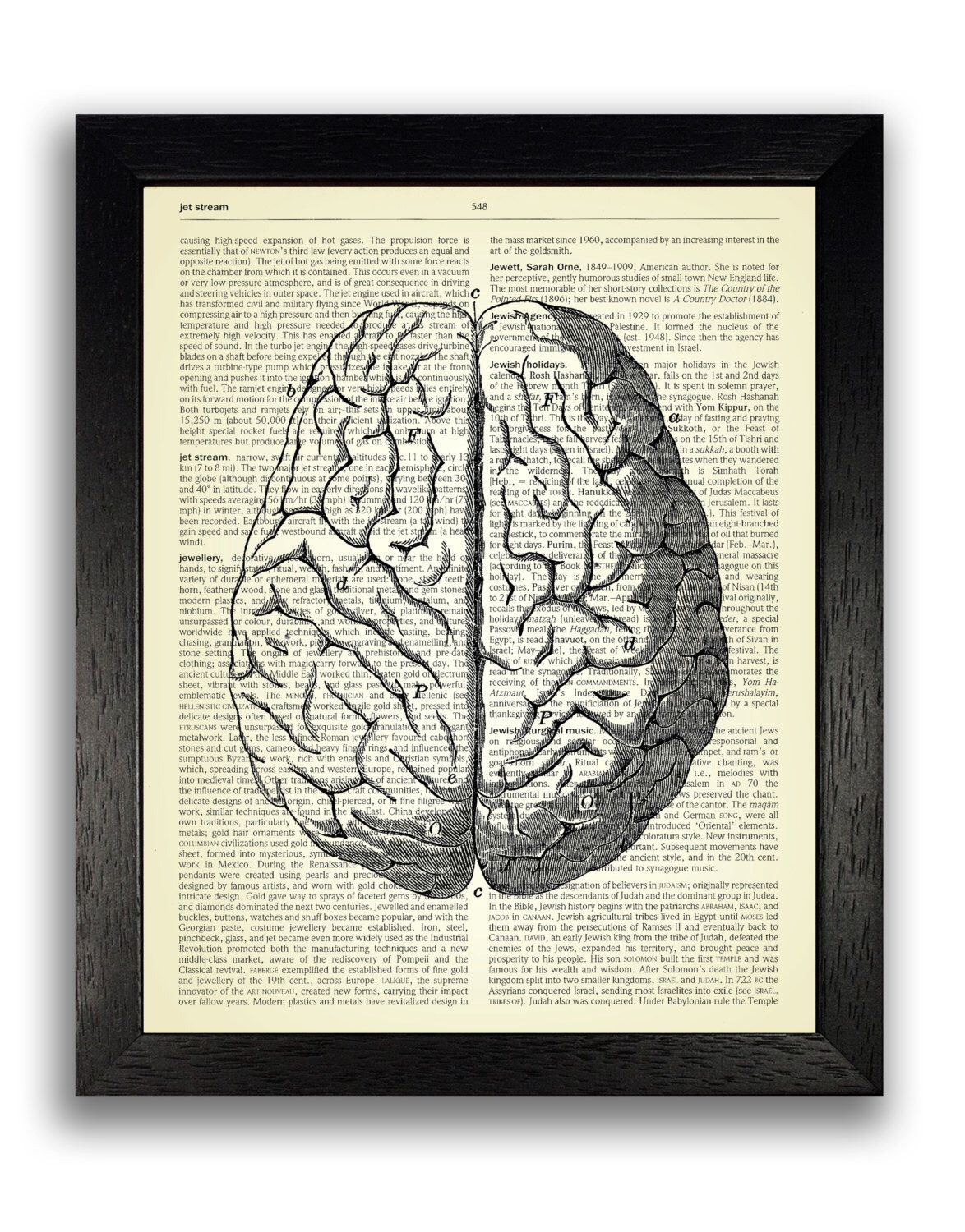 Anatomical Brain Drawing Dictionary Art Print, Anatomy Brain Poster ...