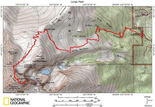 Long\'s Peak - Keyhole Route Topo Map | Trailhead in 2019 | Map ...