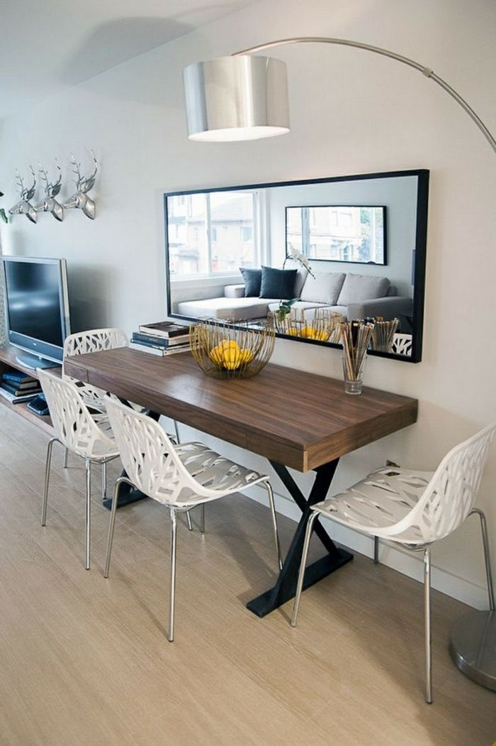 A Large Mirror In A Small Dining Room Small Apartment Set Up Apartment Dining Room Dining Room Small Apartment Dining