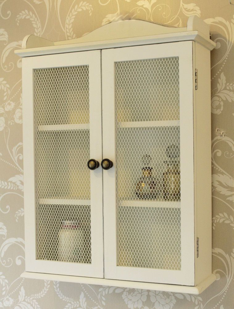 White Mesh Cabinet Wall Unit Storage Shabby Vintage Chic Shelf Bathroom  Kitchen | EBay