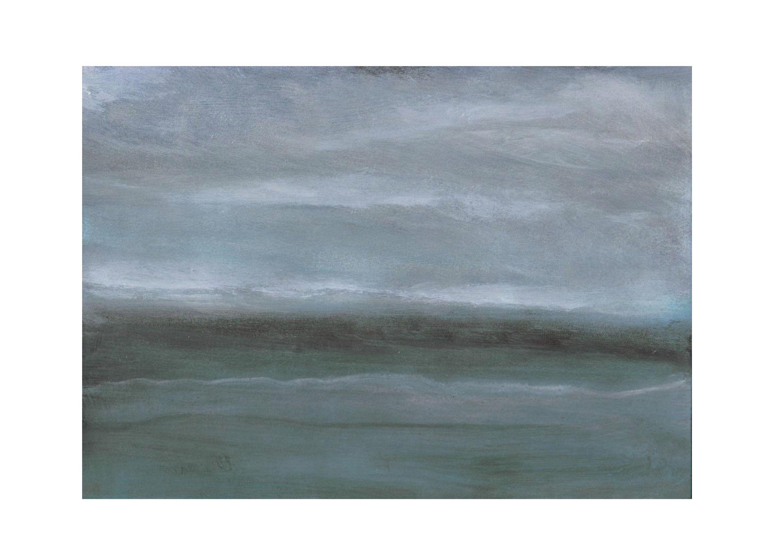 Peinture Paysage Abstrait Marin Cotier Minimaliste Bleu Gris Mer