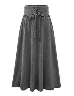 Dámské Vintage   Šik ven Maxi Bavlna   Umělé hedvábí Lehce elastické Sukně  Středně Dlouhé Sukně cb3eaed66d