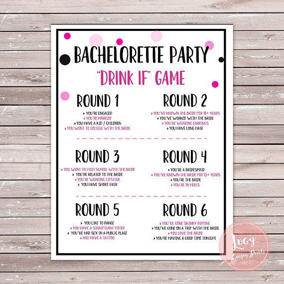 Bachelorette Party Drink If Game Instant bachlorette party - bridal shower checklist
