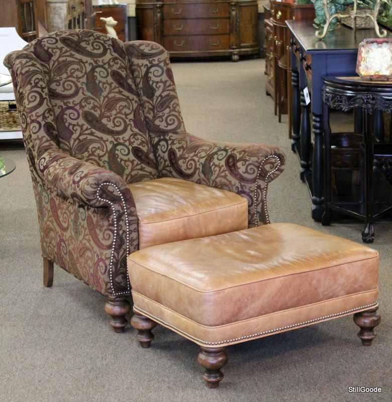 Comfortable club chair with matching ottoman by Old