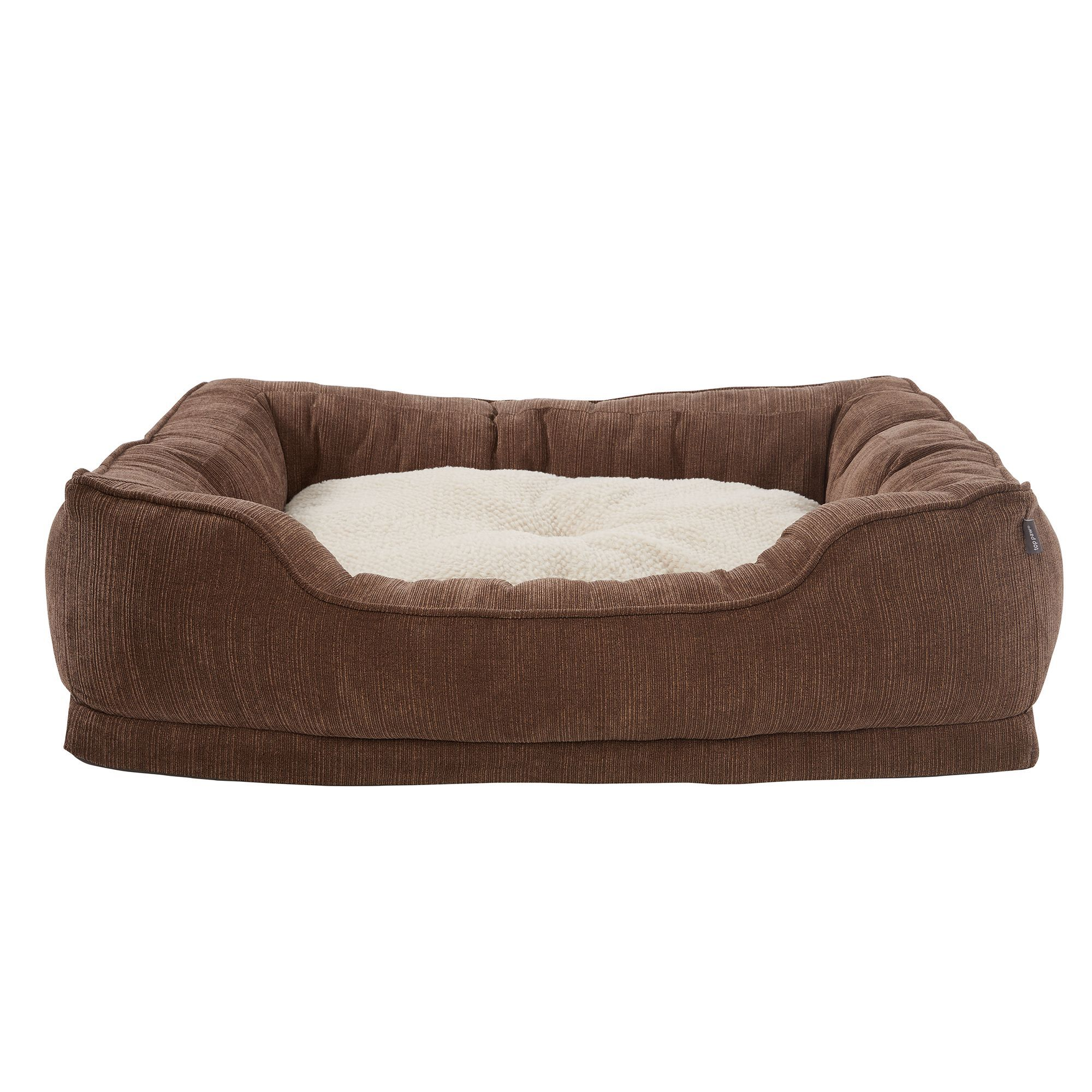 Top Paw Orthopedic Premium Support Square Lounger Pet Bed Size 30 L X 38 W X 1h Brown Pet Bed Dog Pillow Bed Bed Sizes