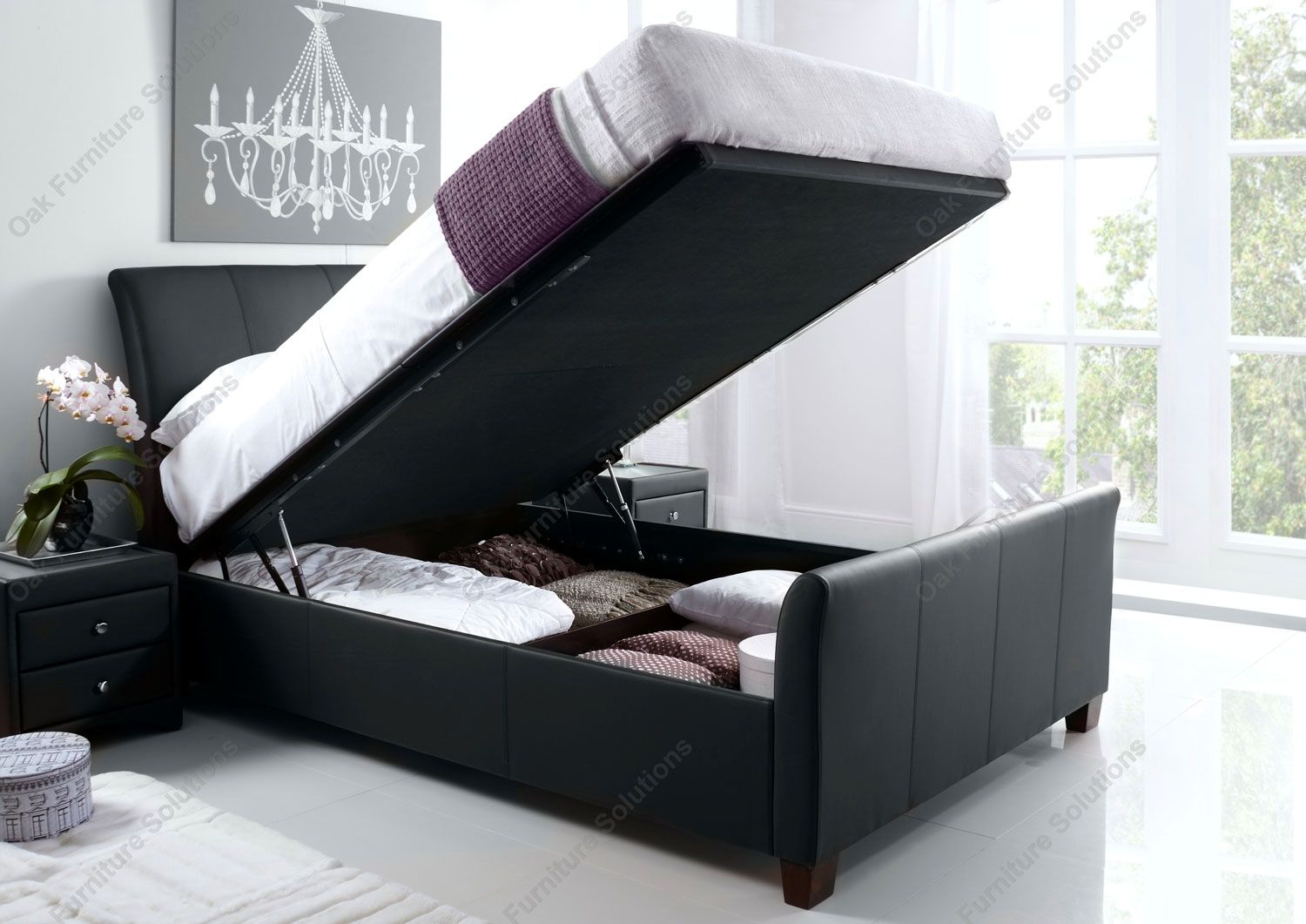Kaydian Allendale Black Leather Ottoman Storage Bed Ottoman Storage Bed Bed Frame With Storage Black Leather Bed