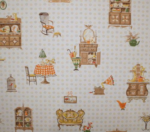 1960 S Vintage Wallpaper Kitchen So Cute Charming Early American Furniture Wallpapers Vintage Vintage Wallpaper Early American Furniture