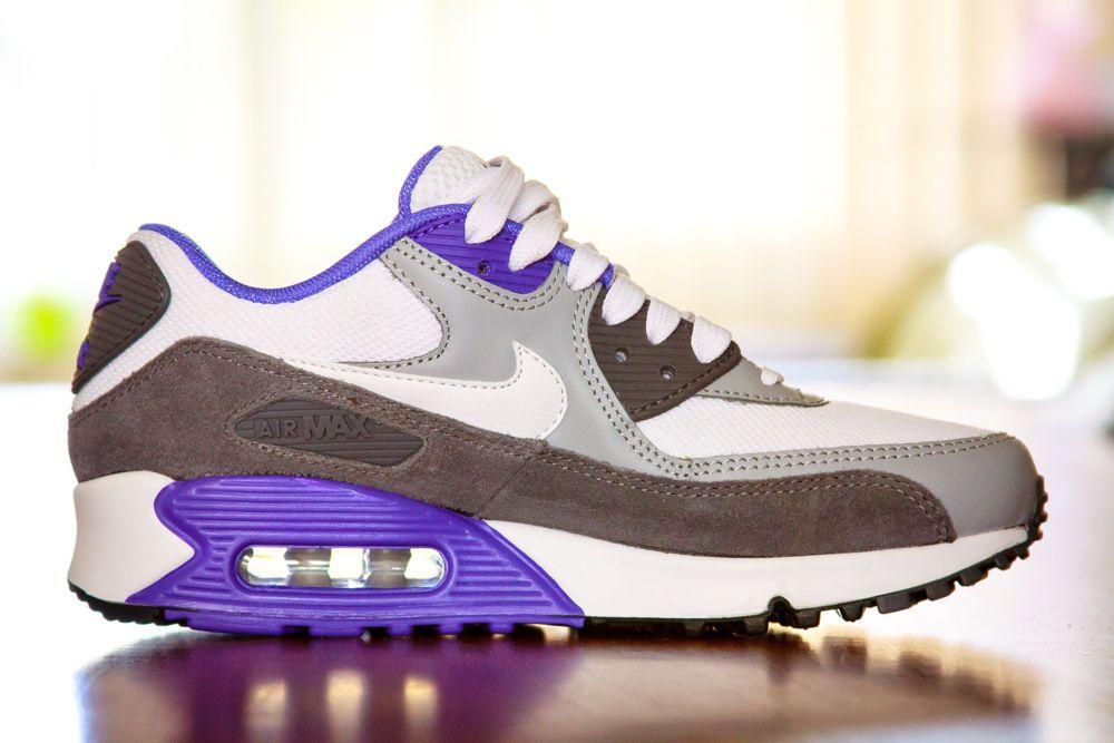 buy online f0347 90b5e 537384122 Men s Nike Air Max 90 Essential White Dark Grey Persian Violet  Walking   eBay