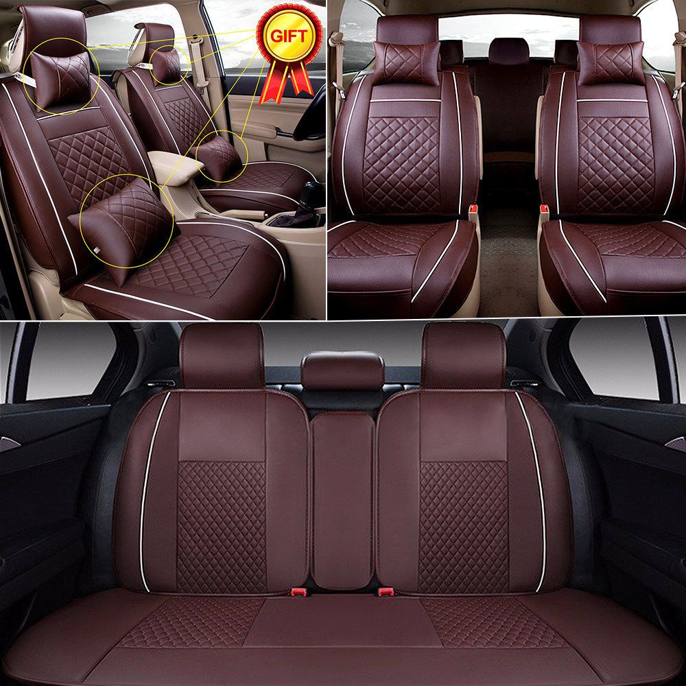 Size L 5-Seats Car PU Leather Seat Cover SUV Front+Rear Cushion With Pillows Set
