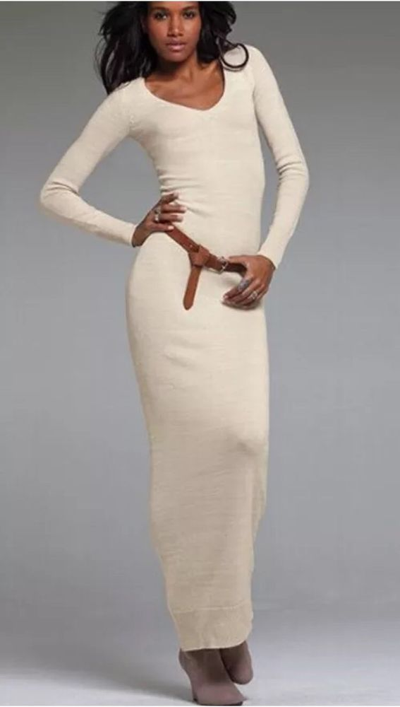 New Victoria's Secret Maxi Sweater Dress Cream Color! Very Sexy ...