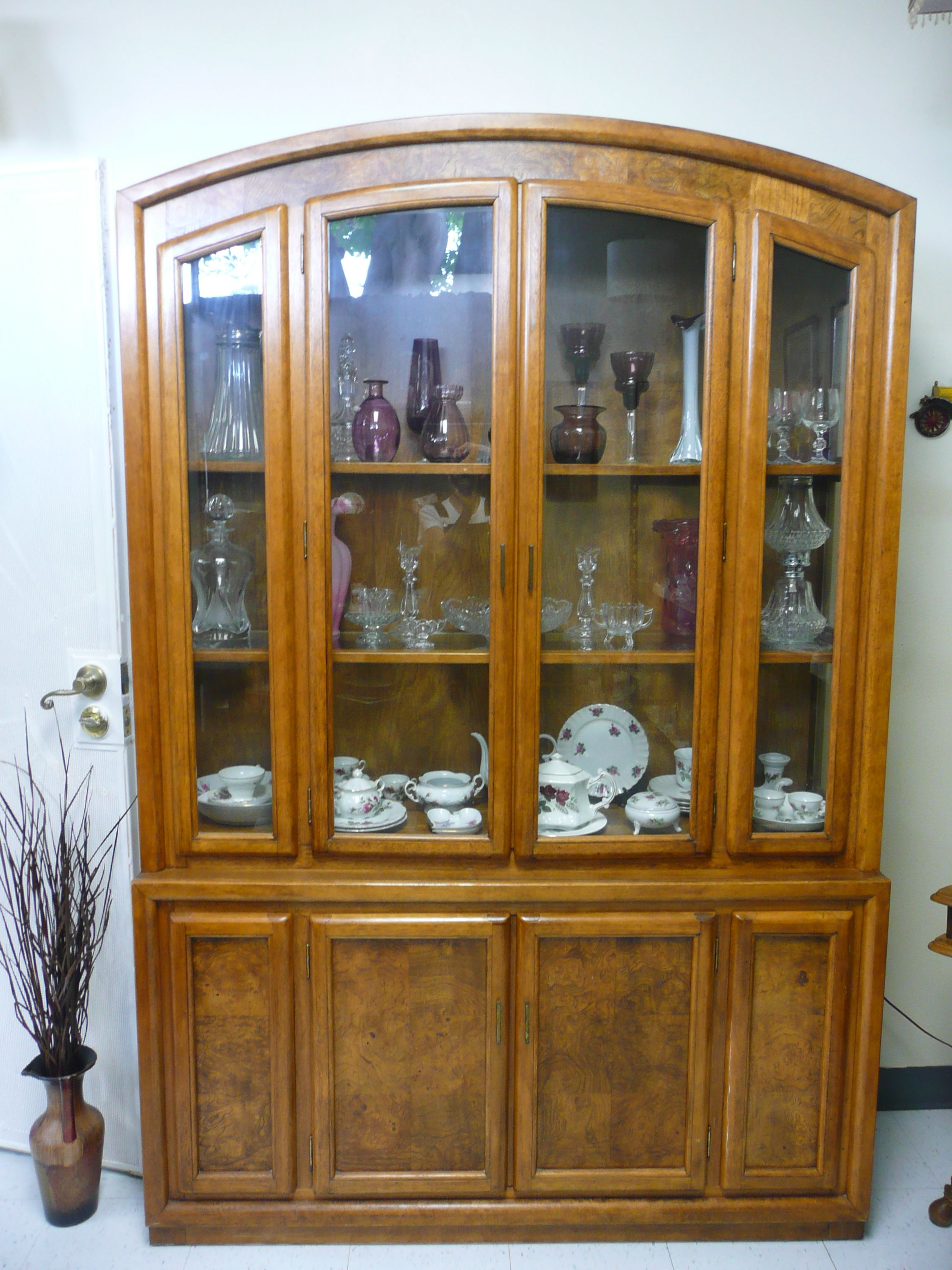 prod mobel oak glazed cabinet china large display