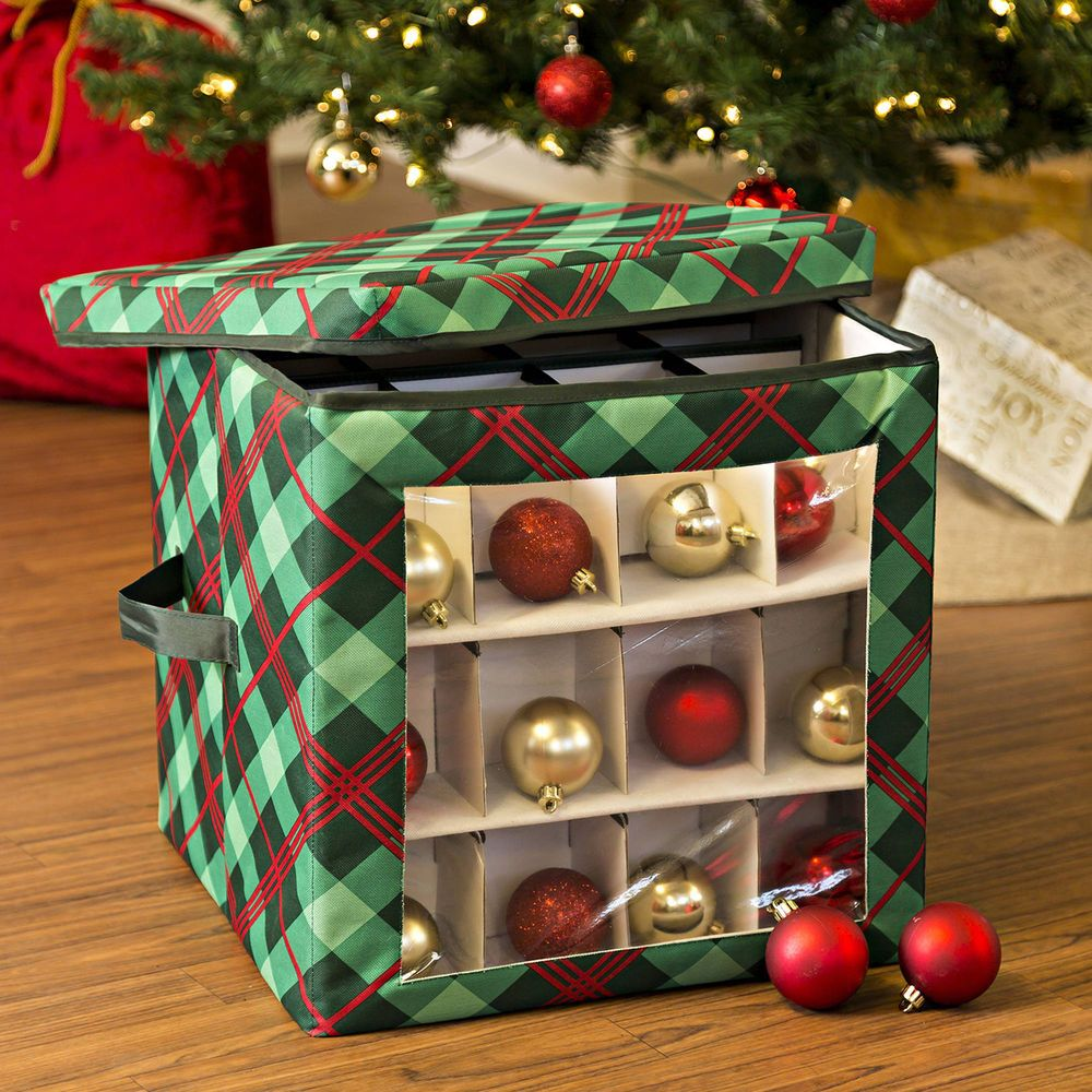 Rubbermaid Christmas Ornament Storage Best Ornament Storage Box Collapsible Plaid Seasonal Holiday Cube Inspiration