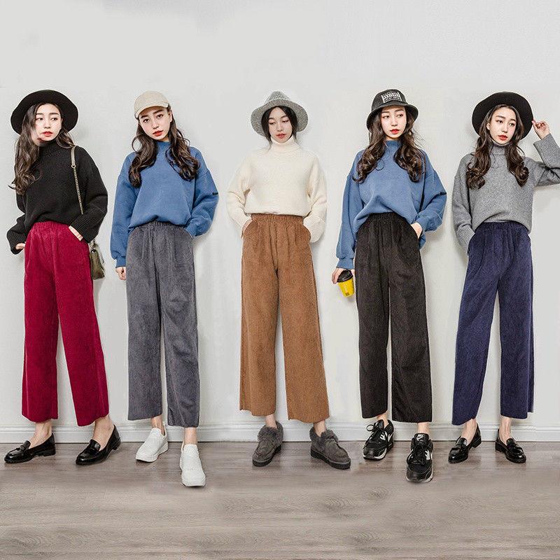 Vintage Womens Corduroy Pants High Waist Loose Wide Leg Flared Cropped Trousers Pants Women Fashion Wide Leg Trousers Outfit Wide Leg Pants Outfit