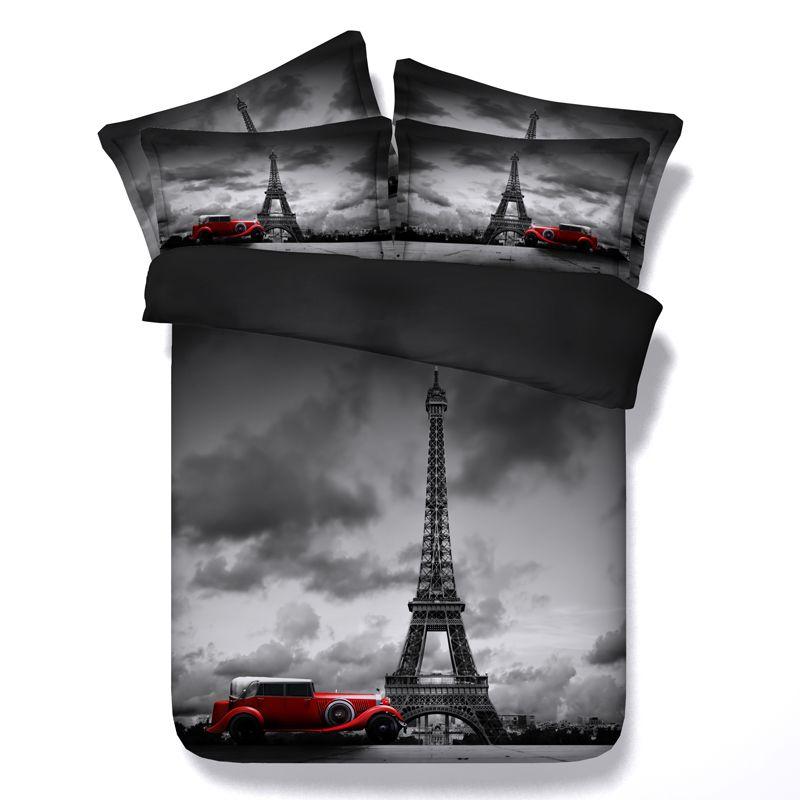 duvet eiffel tower comforter set paris 3d bedding sets bed sheets duvet cover bedspread quilt queen size