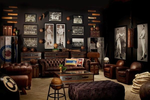 Restoration Hardware Sports Room Man Cave With Masculine Elements