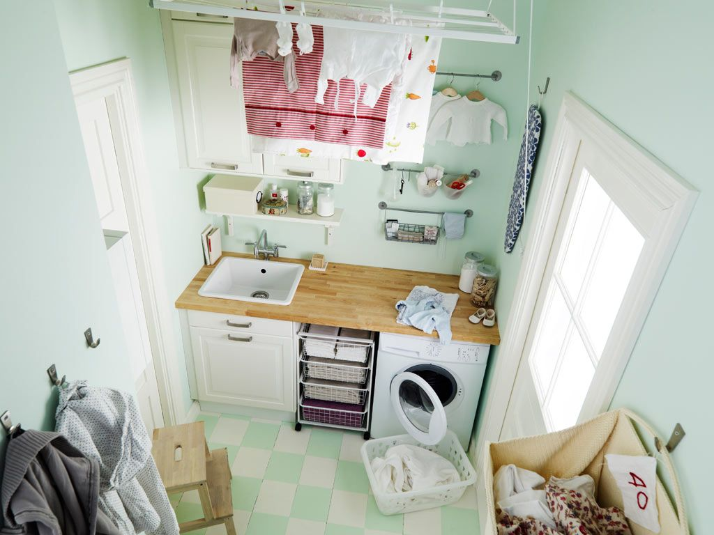 Small Sky Blue Ikea Laundry Room With Side Space White Washer Appliance  Beside The White Metal Storage Also Rectangle Shaped White Sink On The Wood  Cabinet ... Part 82