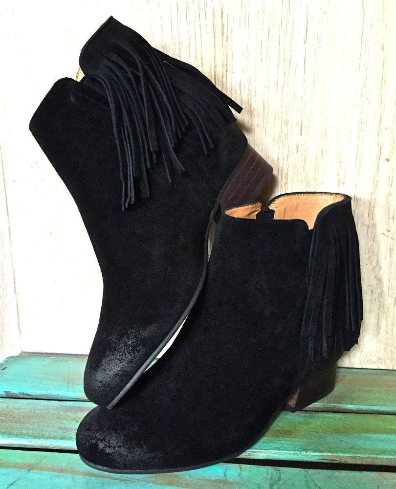 NIB Free People black suede Gallery Fringe Hidden Wedge Boots Booties 38 / 8 #Matiko #fringedbooties #verstile