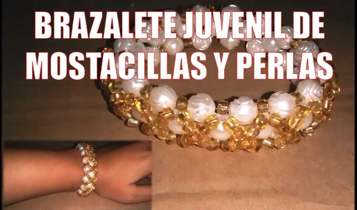 345c526a2448 Brazalete de MOSTACILLAS y perlas - Bisutería fina ( Tutorial paso a paso)