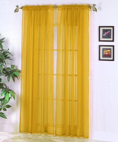 Take A Look At This Mustard Abby Sheer Voile Curtain Panel Set