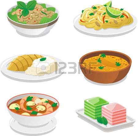 Thai Food Dishes Vector Cartoon Illustrations Thai Food Dishes