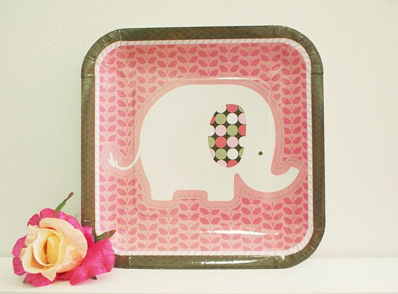 10 Pink \u0026 Brown Elephant Paper Plates by LilPika on Etsy $4.80  sc 1 st  Pinterest & 10 Pink \u0026 Brown Elephant Paper Plates by LilPika on Etsy $4.80 ...