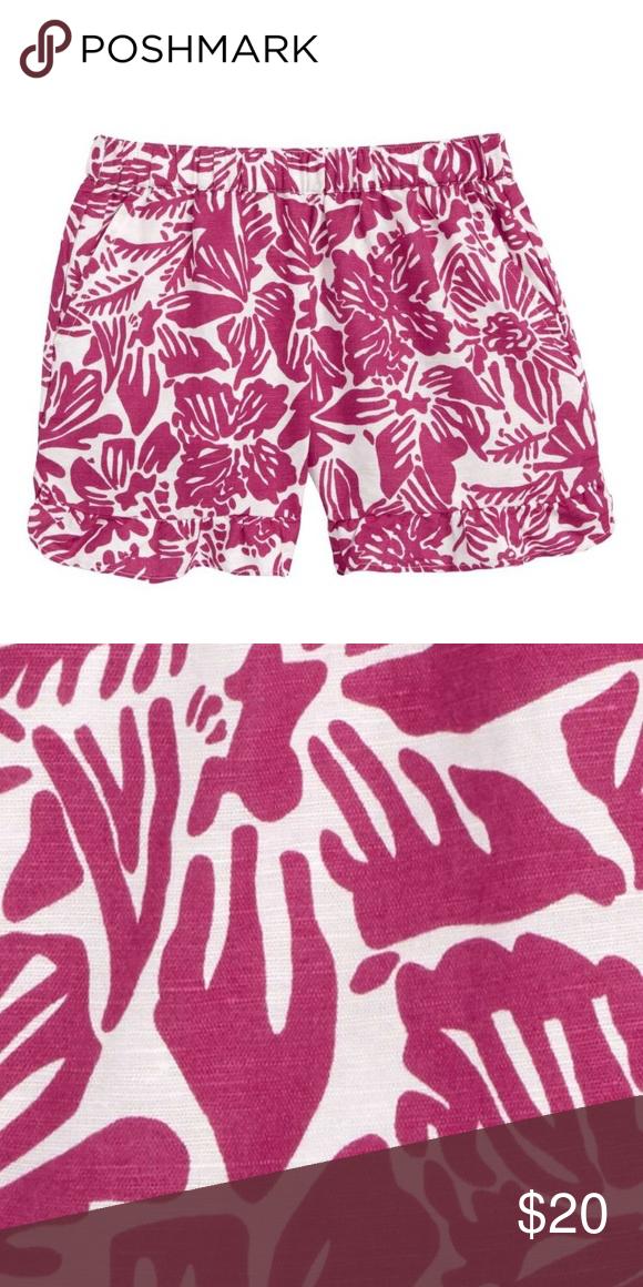 d4224cddbd Crewcuts Belle Floral Shorts -Color: Wild Fuchsia -Pull on shorts -Elastic  waist -Front slip pocket - 60% linen/ 40% cotton -Machine wash Crewcuts  Bottoms ...
