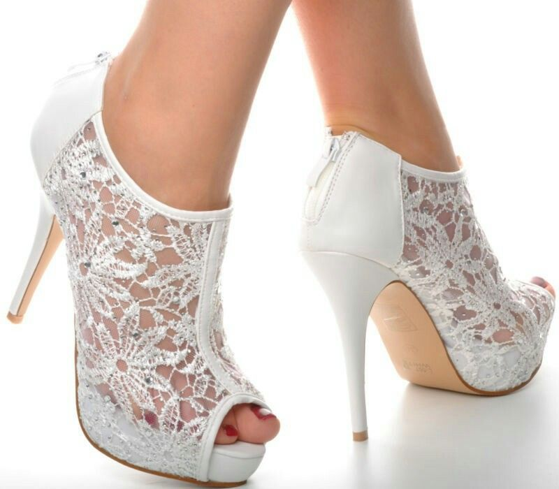 Off White Lace Diamante Platform Wedding Ankle Boots Heels Peeptoe Shoes In Clothing Accessories Womens