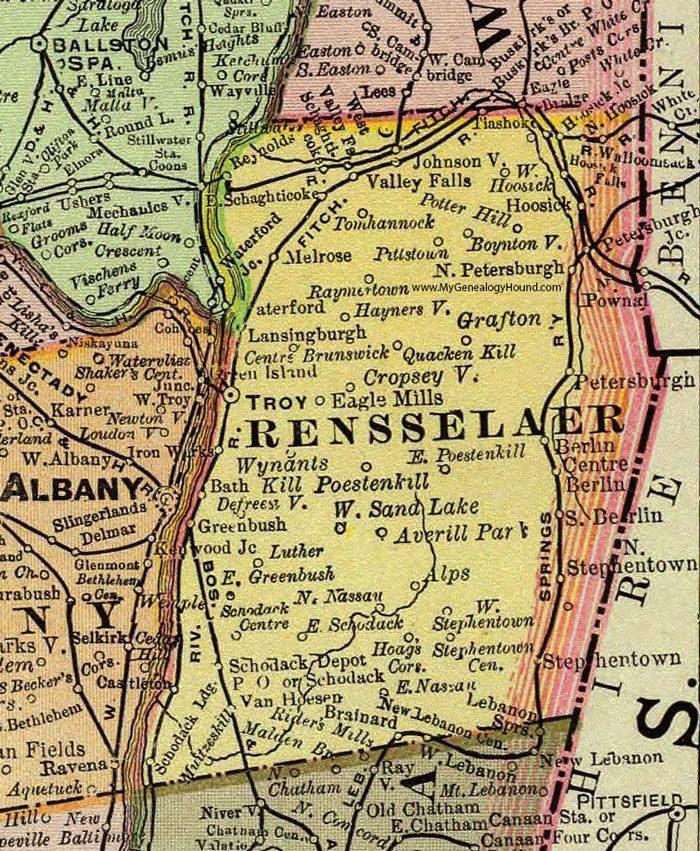 Rensselaer County, New York, 1897, Map, Rand McNally, Troy ... on map of black lake new york, map of lake ontario new york, map of sand lake oregon, map of sand lake idaho, map of sand lake wyoming, map of sand lake mi,