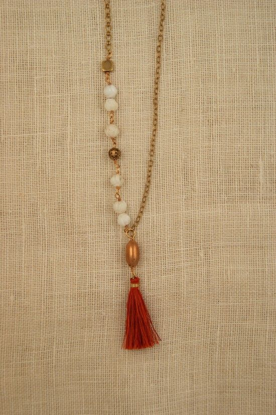 Vintage beads and silk tassel necklace by ExVoto Vintage Jewelry